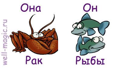 Совместимость женщина-рак и мужчина-рыбы естественна, потому что они являются водными знаками зодиака.